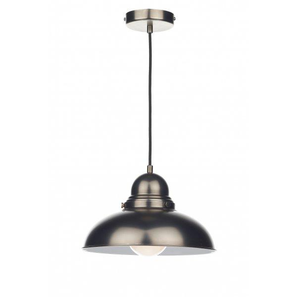 Dar Lighting Dynamo 3 Light Kitchen Island Pendant: Antique Chrome Retro Style Ceiling Pendant For Over