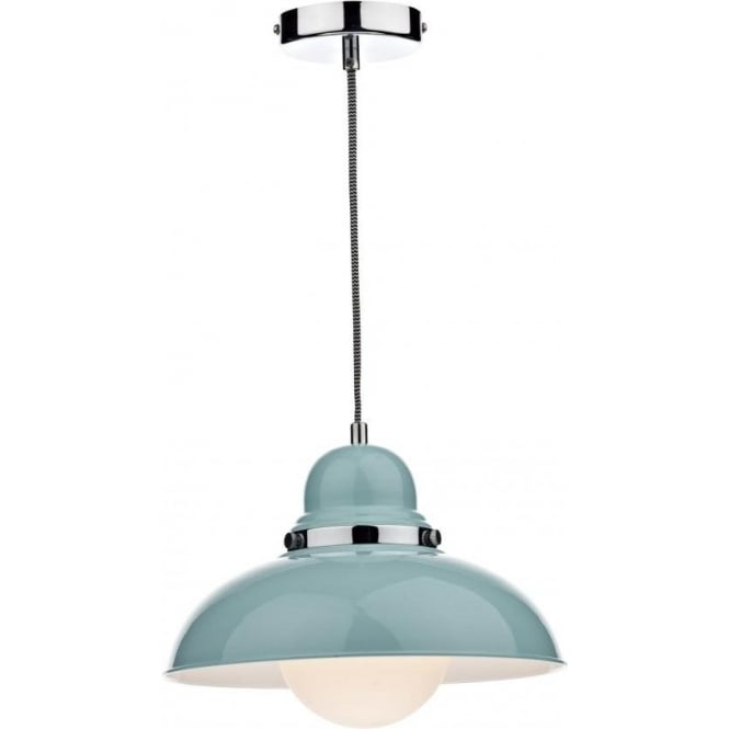 Double Insulated Gloss Blue Metal Ceiling Pendant Light
