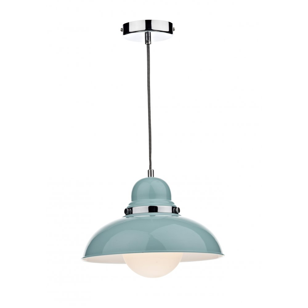 Double insulated gloss blue metal ceiling pendant light for Metal hanging lights