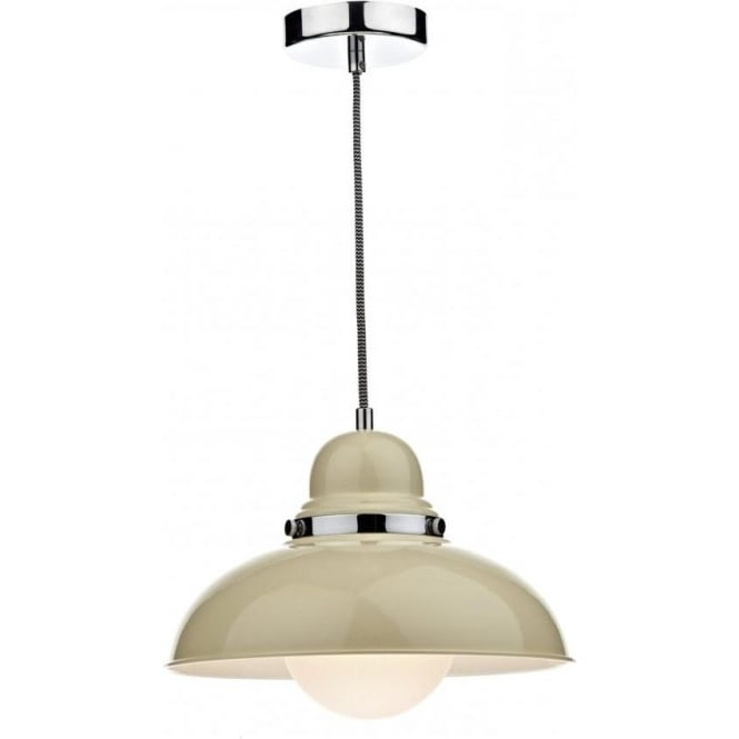 Cream Gloss Retro Style Ceiling Pendant Light For Over