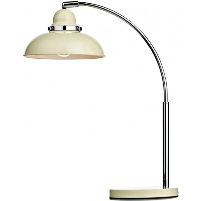 Cambridge Lighting DYNAMO retro style table lamp or desk light, cream and chrome