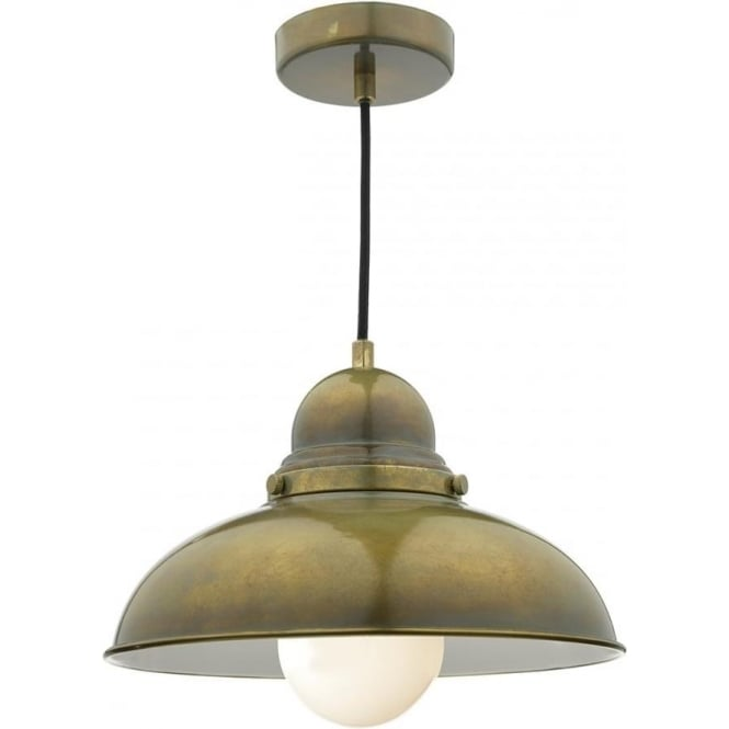 Weathered Brass Hanging Ceiling Pendant Light In Vintage Retro Styling