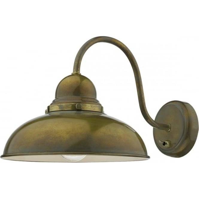 Retro Style Wall Light With Large Metal Shade, Weathered
