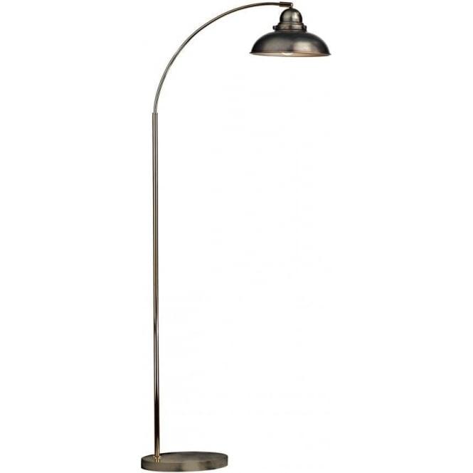 Wide Arc Floor Lamp In Antique Chrome Finish Retro Style