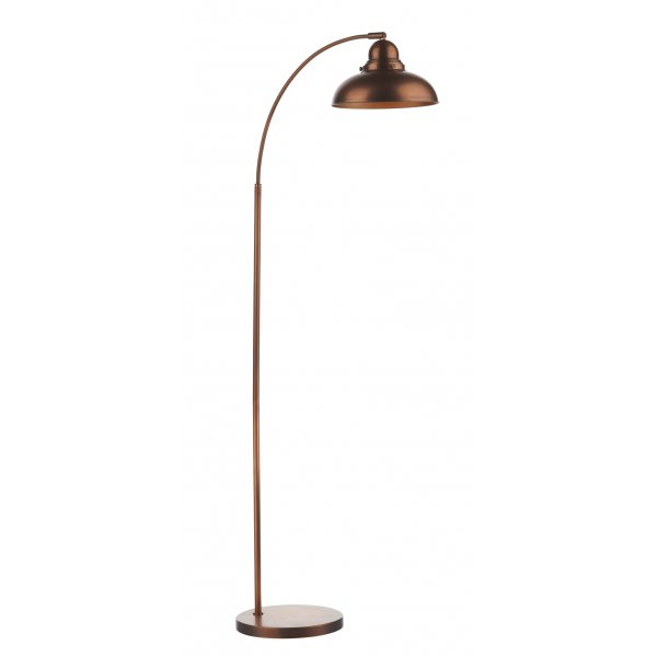 Retro Industrial Style Copper Floor Lamp With Wide Angle Arm