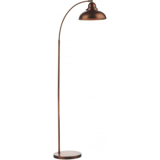 Retro industrial style copper floor lamp with wide angle arm dynamo wide arc antique copper floor lamp mozeypictures Gallery