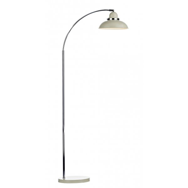 Modern Retro Style Wide Arc Floor Lamp In Cream And Chrome