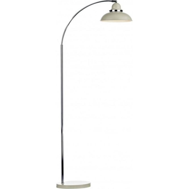 Modern retro style wide arc floor lamp in cream and chrome for Chrome arc floor lamp uk