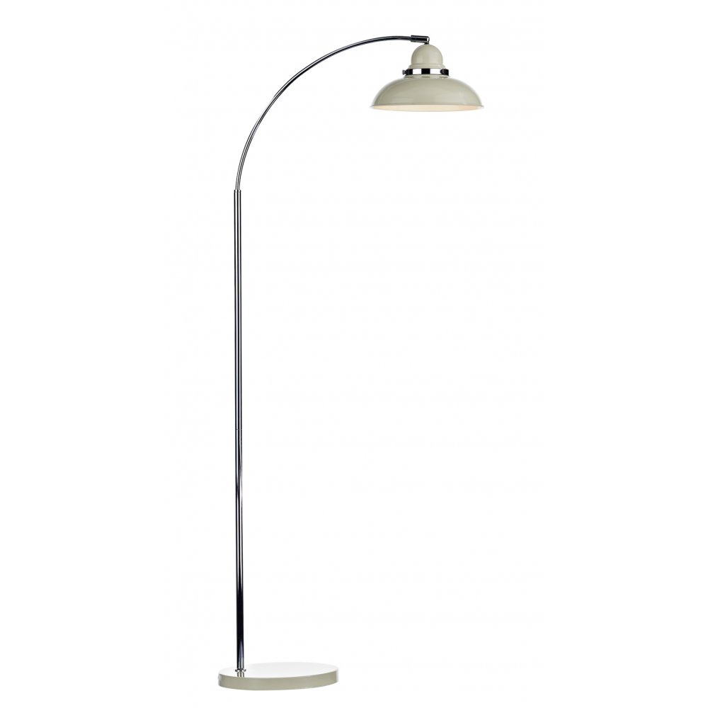 Standard Shop Lights: Modern Retro Style Wide Arc Floor Lamp In Cream And Chrome