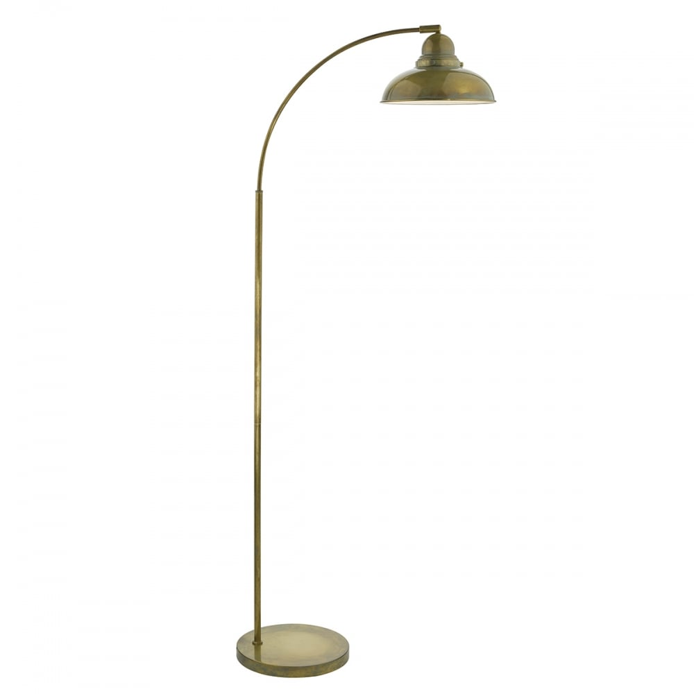 Wide Arc Floor Lamp in Weathered Brass Finish, Retro Style ...