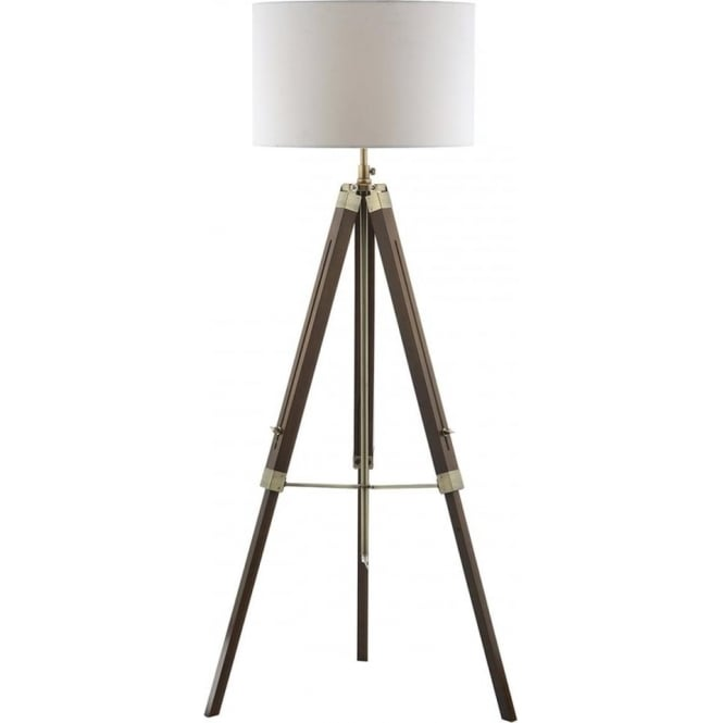 Tripod Or Easel Like Floor Standing Lamp With White Linen