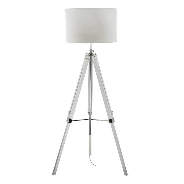 Contemporary White Gloss Tripod Or Easel Floor Lamp With