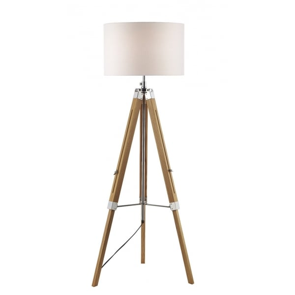 Wooden Tripod Or Easel Like Floor Standing Lamp With White