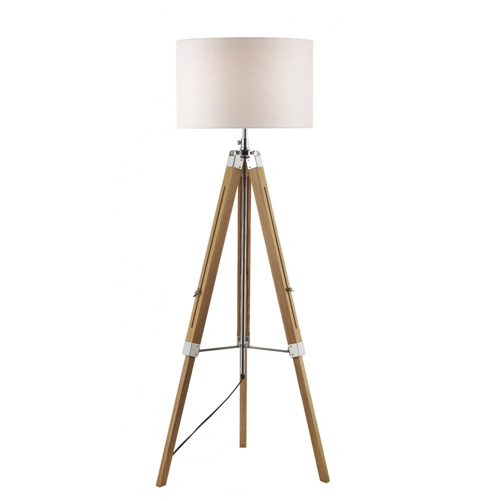 Standard Shop Lights: Wooden Tripod Or Easel Like Floor Standing Lamp With White