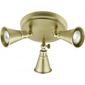 EDO traditional spotlight cluster with 3 adjustable soft aged brass spotlights
