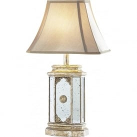 EIDETIC traditional antique gold distressed mirror table lamp with shade