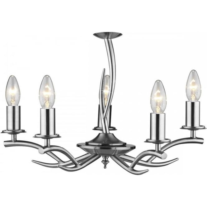 5 light double insulated ceiling light fitting with offset stag arms elka double insulated satin chrome antler inspired ceiling light aloadofball Choice Image