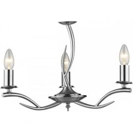 ELKA double insulated satin chrome antler inspired dual mount ceiling light