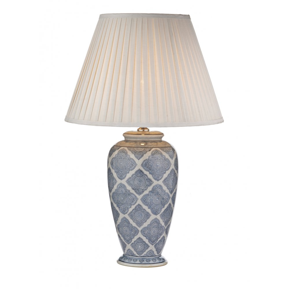 Geometric Pattern Ceramic Table Lamp In Pale Blue With