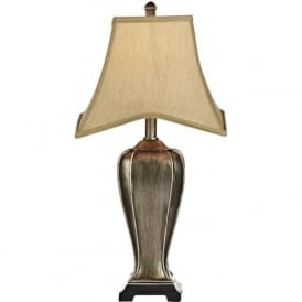 EMLYN traditional silver gold table lamp with shade
