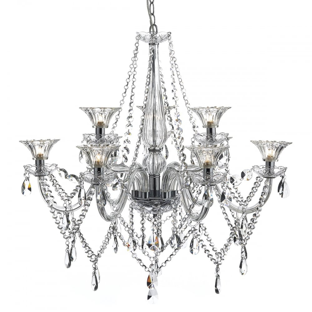 Crystal Chandelier Vs Glass: Crystal Glass 9 Light Luxury Chandelier, Ideal For High