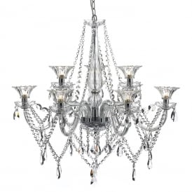 EMMA large 9 light lavishly decorated crystal chandelier on chrome frame