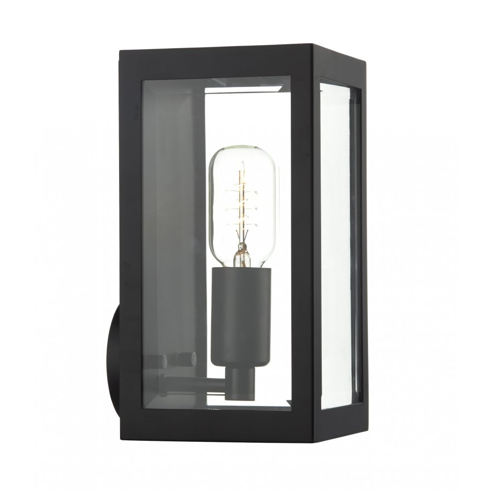 Indoor Wall Lantern Lights : Black Rectangular Box Shaped Wall Lantern for Indoor or Outdoor Use