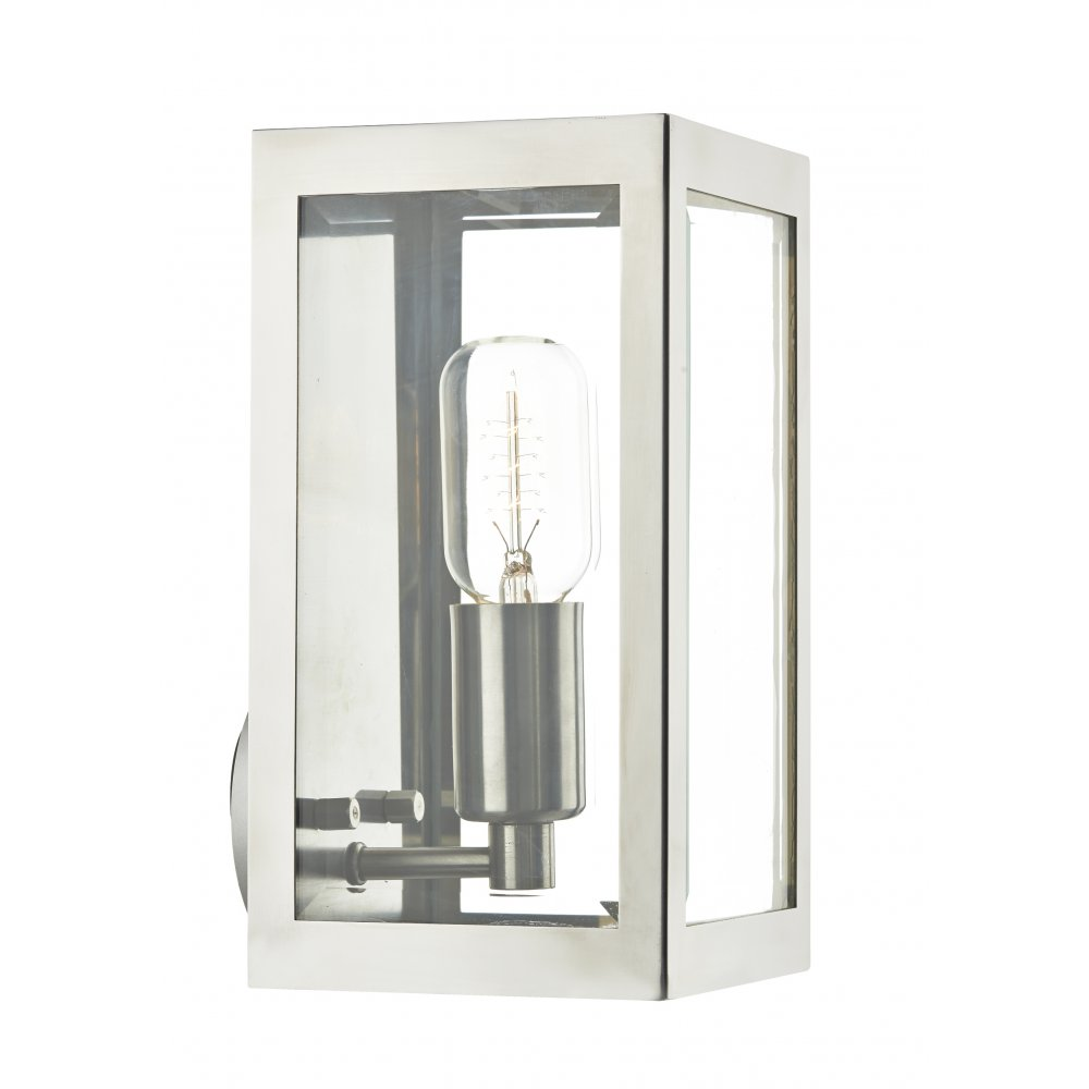 Chrome Ip44 Box Shaped Wall Lantern For Using Indoor Or Outdoors