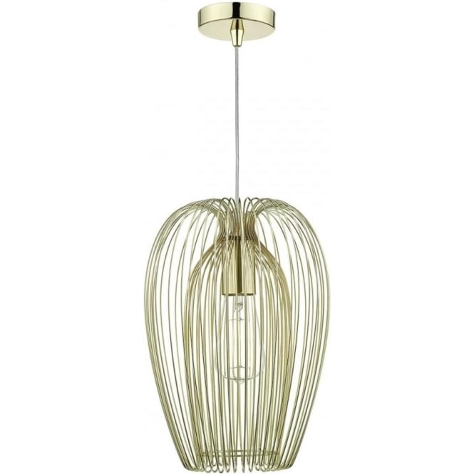 Cambridge Lighting ERO double insulated ceiling pendant with double layered gold wire cage shade