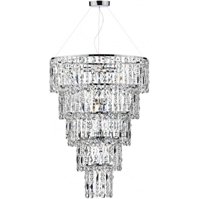 waterfall chandelier for high ceilings with 5 cascading crystal tiers