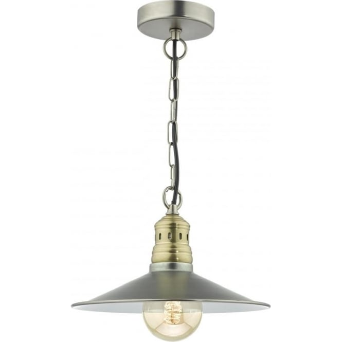 Cambridge Lighting ESRA fisherman style ceiling pendant in two tone antique chrome and brass