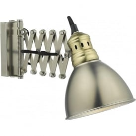 ESRA retro style scissor action wall light in two tone antique chrome and brass
