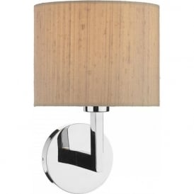 FERRARA hotel style wall light in chrome with taupe silk shade