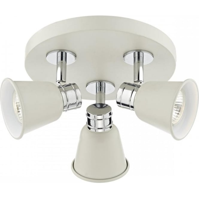 Cambridge Lighting FRY pale cream cluster of ceiling spotlights with chrome detailing