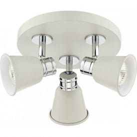 FRY pale cream cluster of ceiling spotlights with chrome detailing