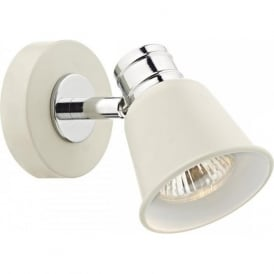 FRY pale cream wall spotlight with chrome detailing