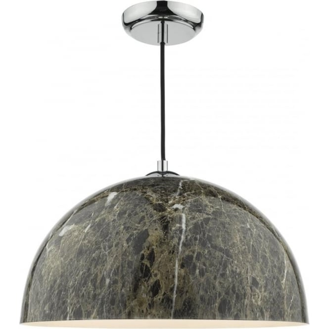 Cambridge Lighting GANACHE rich dark marbled brown ceiling pendant on chrome fitting with braid cable