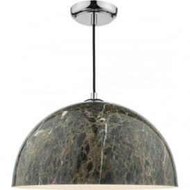 GANACHE rich dark marbled brown ceiling pendant on chrome fitting with braid cable