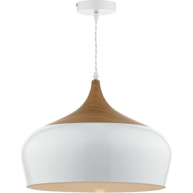 2a43a401b8d2 Double Insulated White Ceiling Pendant Light with Wood Detailing
