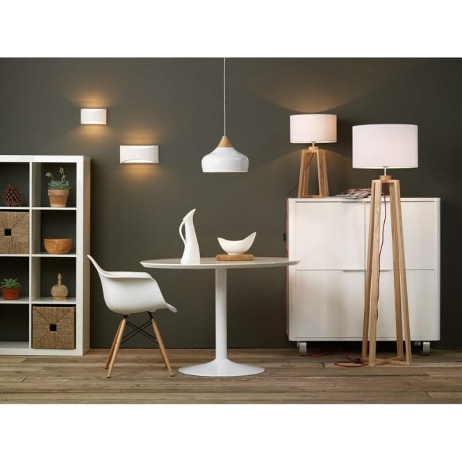 fa9483d8bd6b GAUCHO Nordic style gloss white ceiling pendant light with wood detail -  large