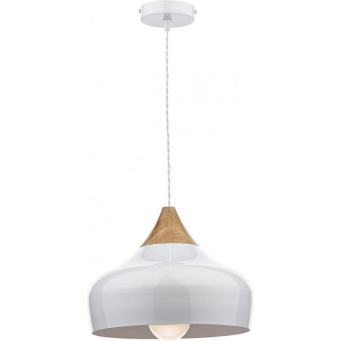 Cambridge Lighting GAUCHO Nordic style gloss white ceiling pendant light with wood detail - small