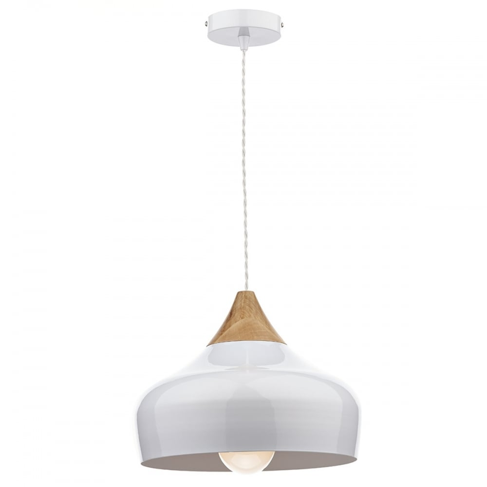 Nordic style gloss white ceiling pendant light with wood for Modern white pendant lighting