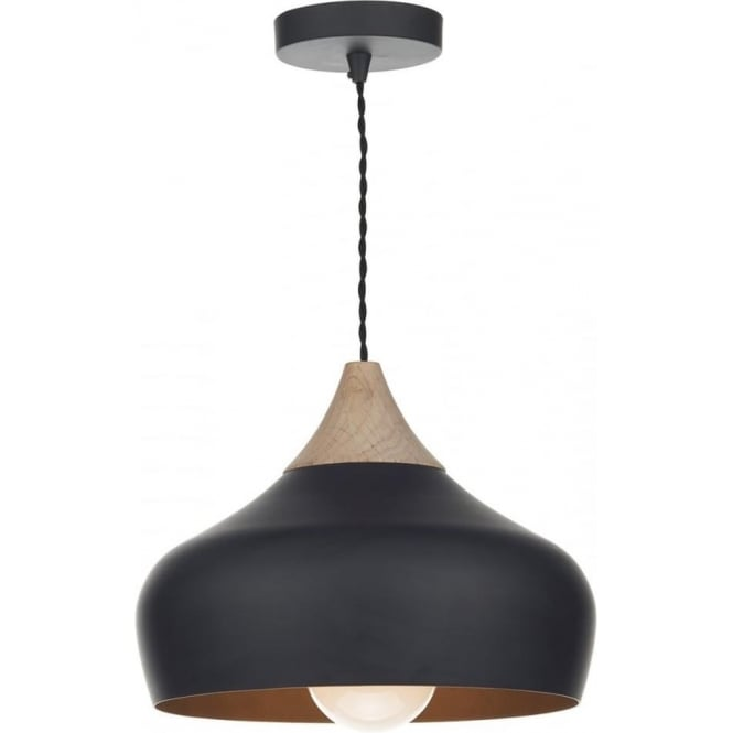 GAUCHO Nordic style matt black ceiling pendant light with wood detail - small  sc 1 st  Bespoke Lights & Contemporary Design Matt Black Ceiling Pendant Light with Wood Detail