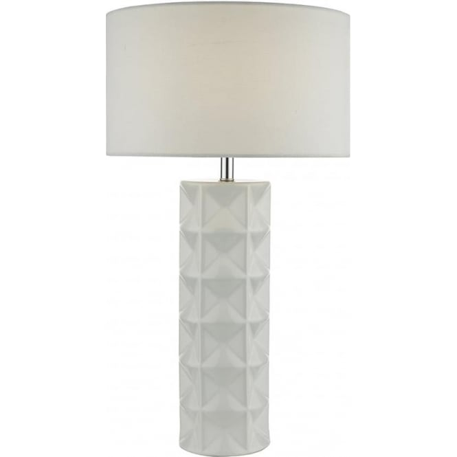 0b126d719607 White Textured Ceramic Base Tall Table Lamp with White Linen Drum Shade
