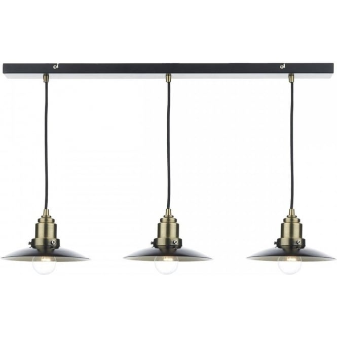 Long Bar Suspension Ceiling Light With 3 Hanging Pendants Retro Style