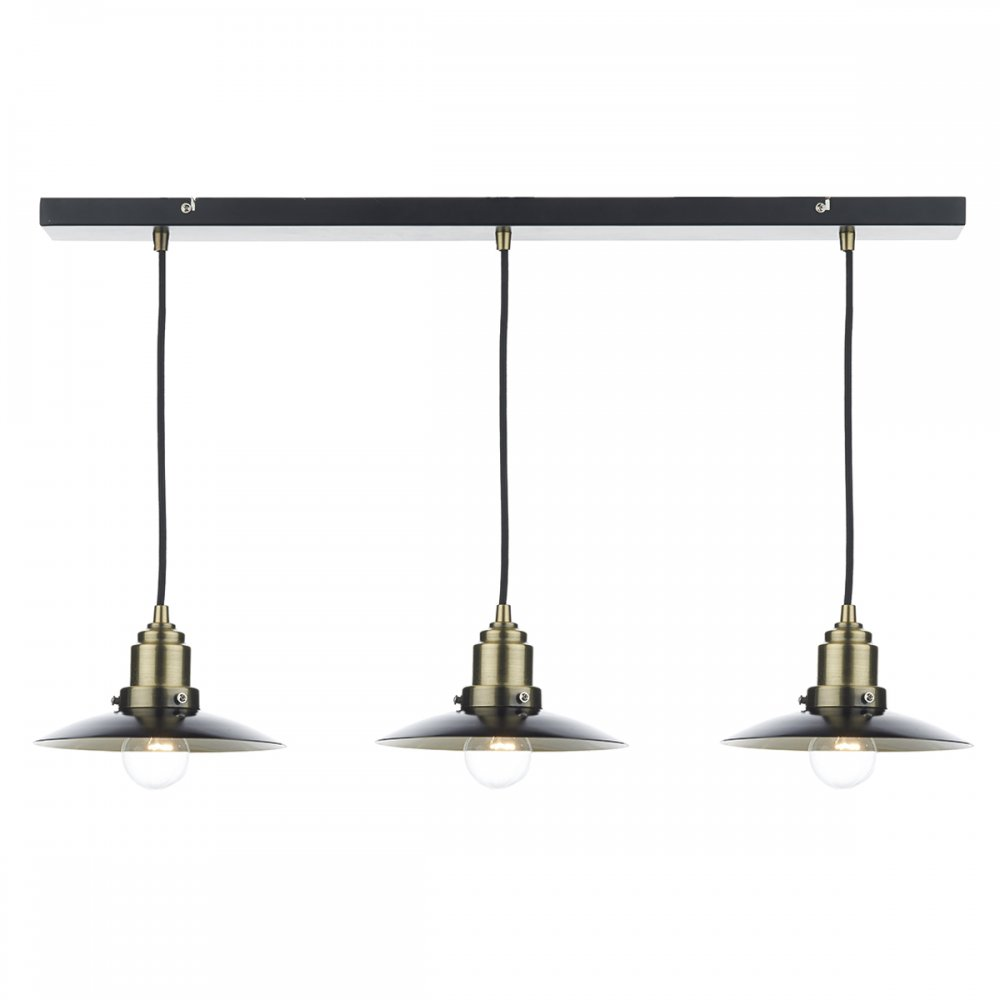Long Bar Suspension Ceiling Light With 3 Hanging Pendants