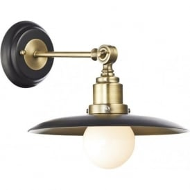 HANNOVER retro style wall light in antique brass and black