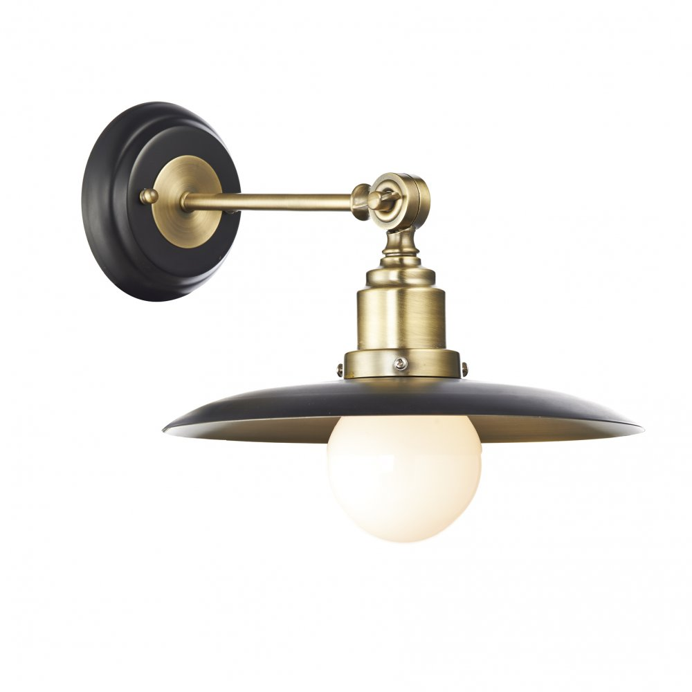 Character Retro Style Wall Light in Two Tone Black and Antique Brass