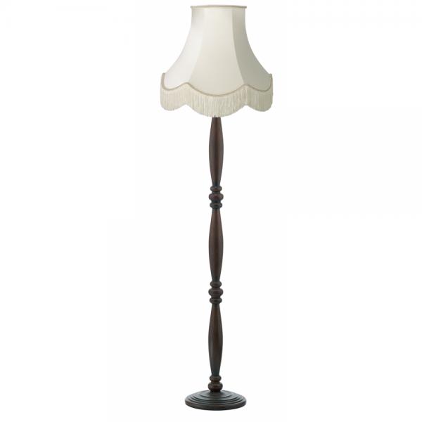 Dark brown victorian wooden floor lamp with luxury fringed for Antique floor lamp with fringed shade