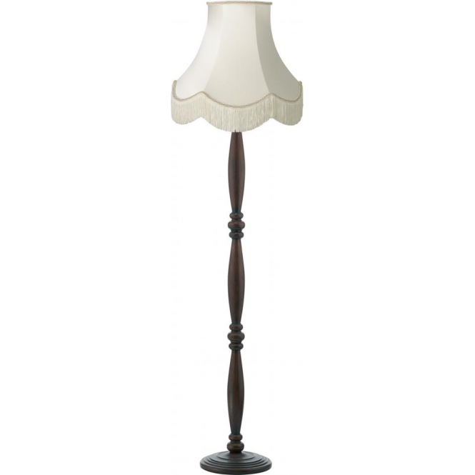 Dark Brown Victorian Wooden Floor Lamp With Luxury Fringed Shade